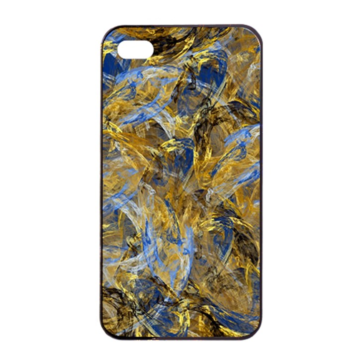 Antique Anciently Gold Blue Vintage Design Apple iPhone 4/4s Seamless Case (Black)