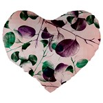 Spiral Eucalyptus Leaves Large 19  Premium Heart Shape Cushions Back