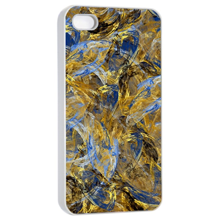 Antique Anciently Gold Blue Vintage Design Apple iPhone 4/4s Seamless Case (White)