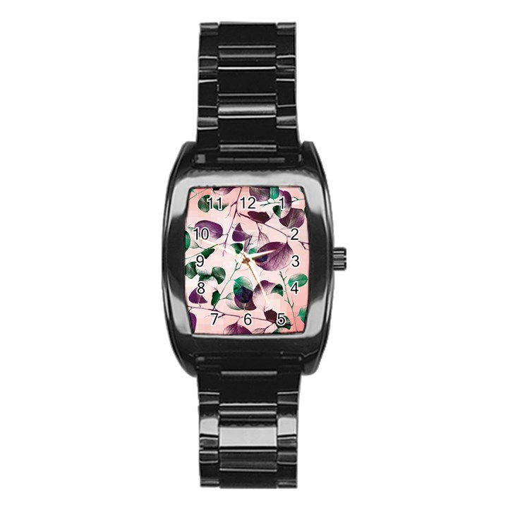 Spiral Eucalyptus Leaves Stainless Steel Barrel Watch