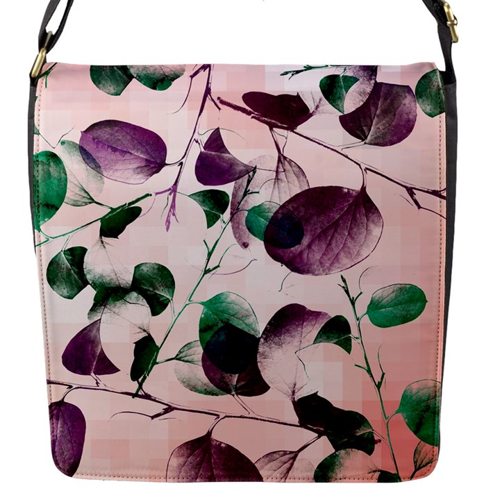 Spiral Eucalyptus Leaves Flap Messenger Bag (S)