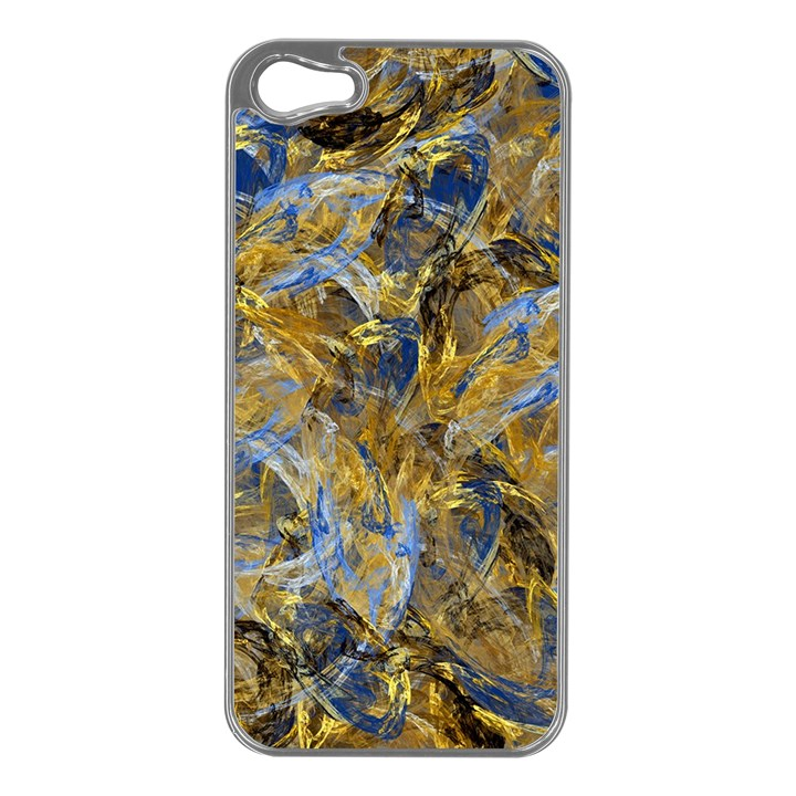 Antique Anciently Gold Blue Vintage Design Apple iPhone 5 Case (Silver)