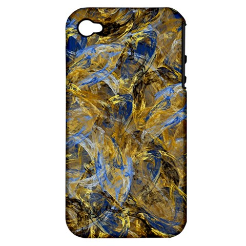 Antique Anciently Gold Blue Vintage Design Apple iPhone 4/4S Hardshell Case (PC+Silicone)