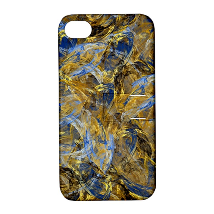 Antique Anciently Gold Blue Vintage Design Apple iPhone 4/4S Hardshell Case with Stand