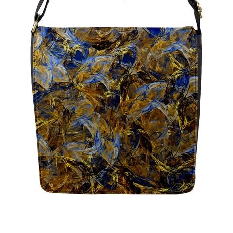 Antique Anciently Gold Blue Vintage Design Flap Messenger Bag (L)