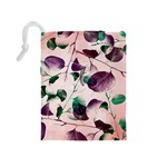 Spiral Eucalyptus Leaves Drawstring Pouches (Medium)  Back