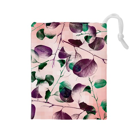 Spiral Eucalyptus Leaves Drawstring Pouches (Large)