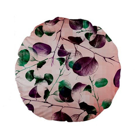 Spiral Eucalyptus Leaves Standard 15  Premium Flano Round Cushions
