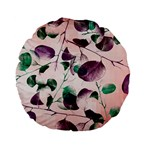 Spiral Eucalyptus Leaves Standard 15  Premium Flano Round Cushions Front