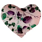 Spiral Eucalyptus Leaves Large 19  Premium Flano Heart Shape Cushions Front