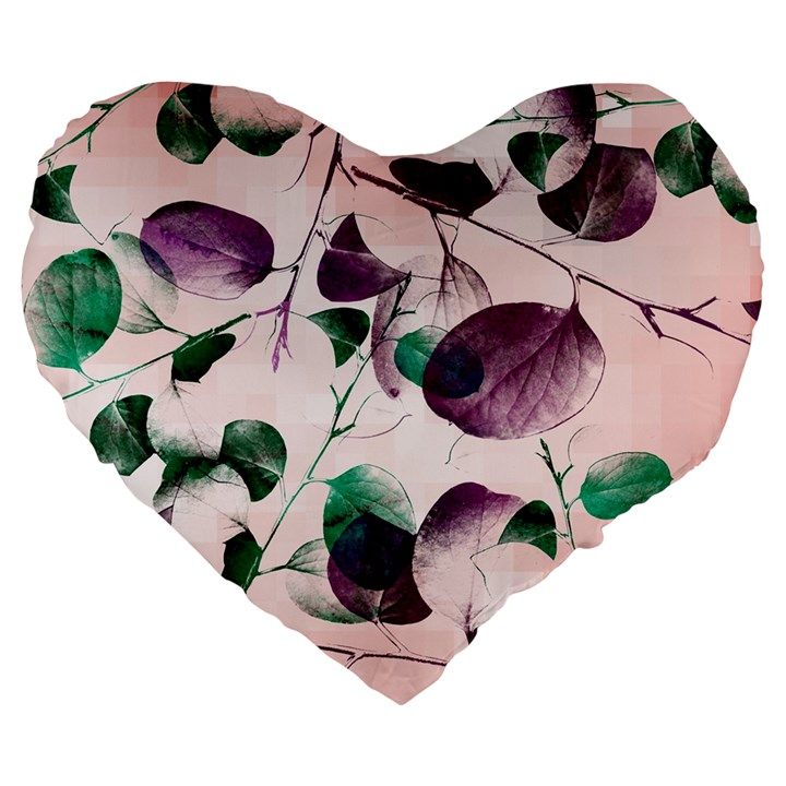 Spiral Eucalyptus Leaves Large 19  Premium Flano Heart Shape Cushions
