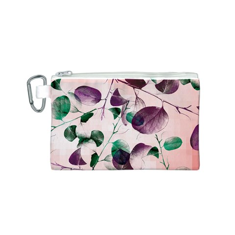 Spiral Eucalyptus Leaves Canvas Cosmetic Bag (S)