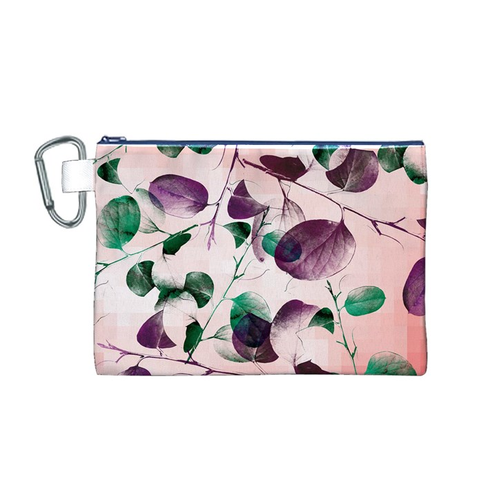 Spiral Eucalyptus Leaves Canvas Cosmetic Bag (M)