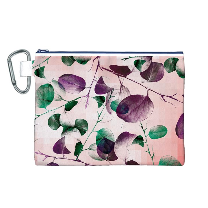 Spiral Eucalyptus Leaves Canvas Cosmetic Bag (L)