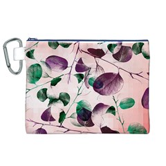 Spiral Eucalyptus Leaves Canvas Cosmetic Bag (xl)