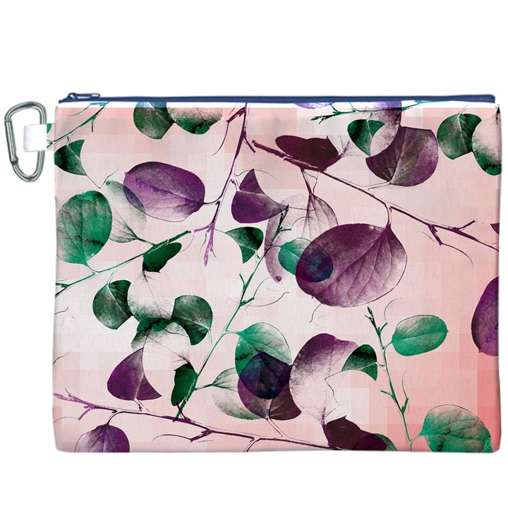 Spiral Eucalyptus Leaves Canvas Cosmetic Bag (XXXL)
