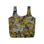 Antique Anciently Gold Blue Vintage Design Full Print Recycle Bags (S)  Back