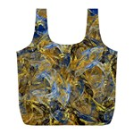 Antique Anciently Gold Blue Vintage Design Full Print Recycle Bags (L)  Front
