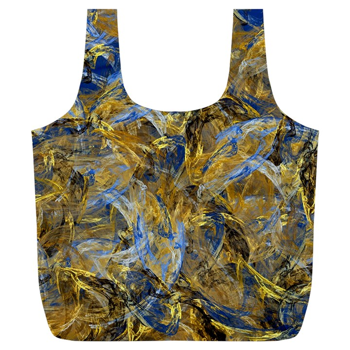Antique Anciently Gold Blue Vintage Design Full Print Recycle Bags (L)