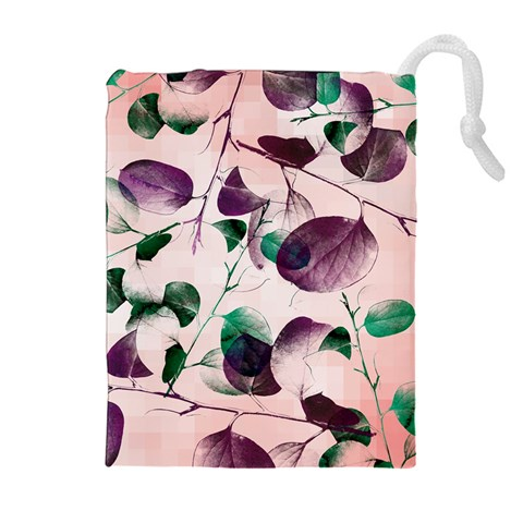 Spiral Eucalyptus Leaves Drawstring Pouches (Extra Large)