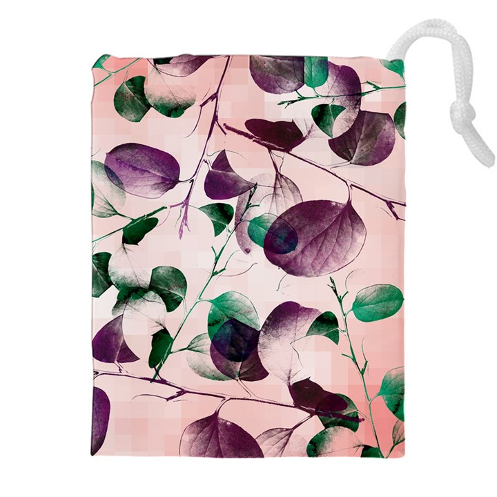 Spiral Eucalyptus Leaves Drawstring Pouches (XXL)