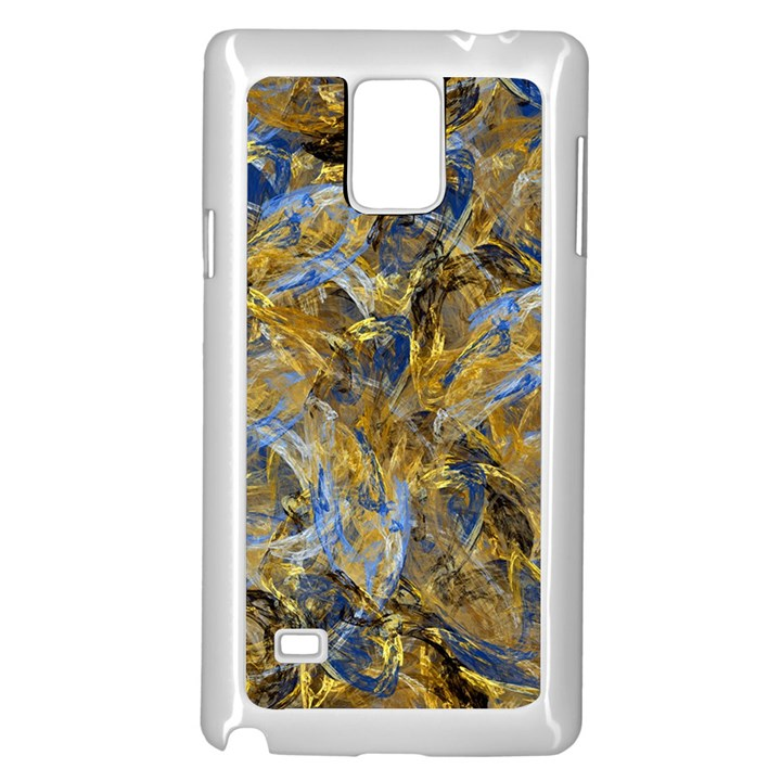 Antique Anciently Gold Blue Vintage Design Samsung Galaxy Note 4 Case (White)