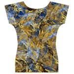 Antique Anciently Gold Blue Vintage Design Women s V-Neck Cap Sleeve Top Back