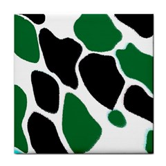 Green Black Digital Pattern Art Tile Coasters