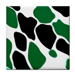 Green Black Digital Pattern Art Tile Coasters Front