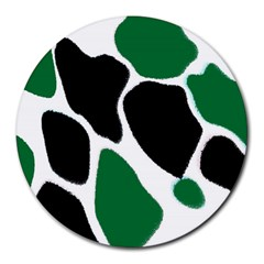 Green Black Digital Pattern Art Round Mousepads