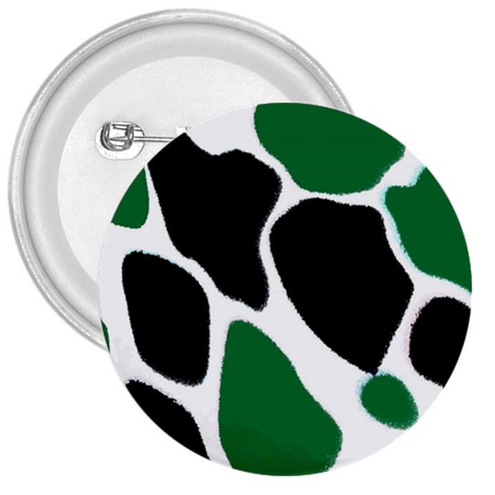 Green Black Digital Pattern Art 3  Buttons