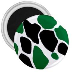 Green Black Digital Pattern Art 3  Magnets