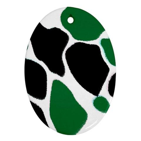 Green Black Digital Pattern Art Ornament (Oval)