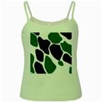 Green Black Digital Pattern Art Green Spaghetti Tank Front