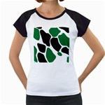Green Black Digital Pattern Art Women s Cap Sleeve T Front