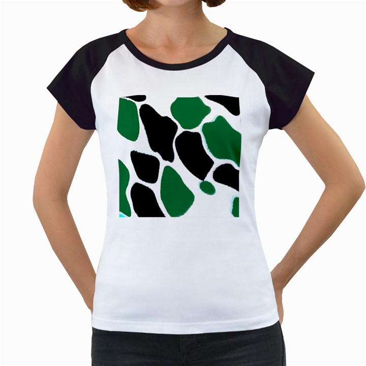 Green Black Digital Pattern Art Women s Cap Sleeve T