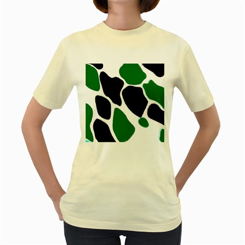 Green Black Digital Pattern Art Women s Yellow T-Shirt