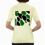 Green Black Digital Pattern Art Women s Yellow T-Shirt Back