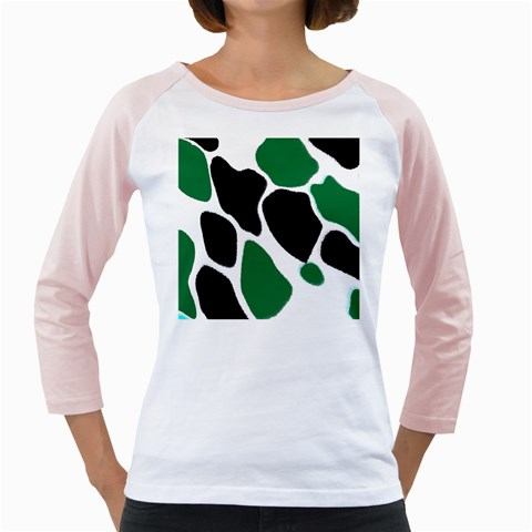 Green Black Digital Pattern Art Girly Raglans