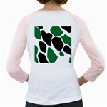 Green Black Digital Pattern Art Girly Raglans Back