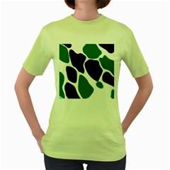 Green Black Digital Pattern Art Women s Green T-Shirt