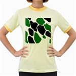 Green Black Digital Pattern Art Women s Fitted Ringer T-Shirts Front
