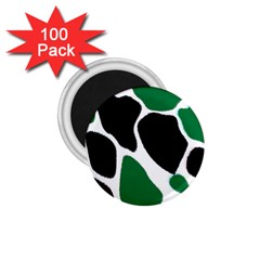 Green Black Digital Pattern Art 1.75  Magnets (100 pack)