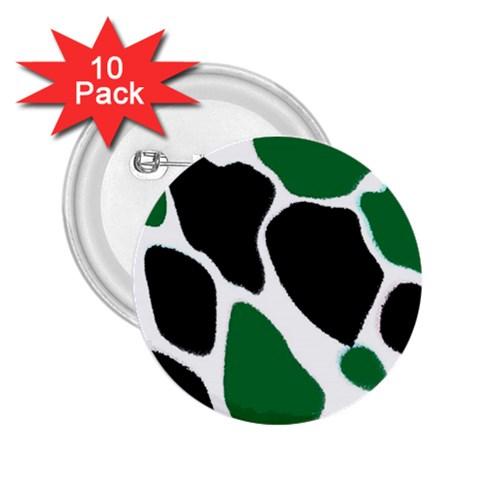 Green Black Digital Pattern Art 2.25  Buttons (10 pack)