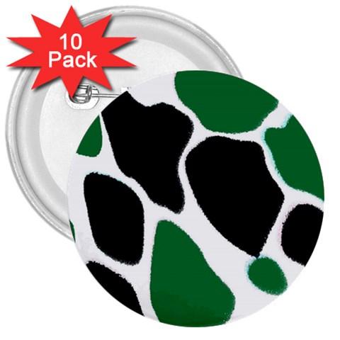 Green Black Digital Pattern Art 3  Buttons (10 pack)