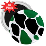 Green Black Digital Pattern Art 3  Magnets (10 pack)  Front