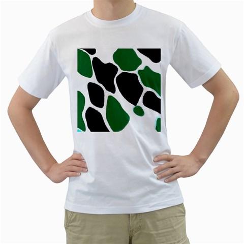 Green Black Digital Pattern Art Men s T-Shirt (White) (Two Sided)