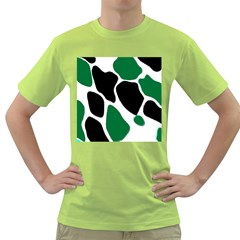 Green Black Digital Pattern Art Green T-Shirt