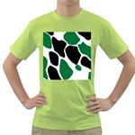 Green Black Digital Pattern Art Green T-Shirt Front