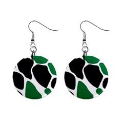 Green Black Digital Pattern Art Mini Button Earrings